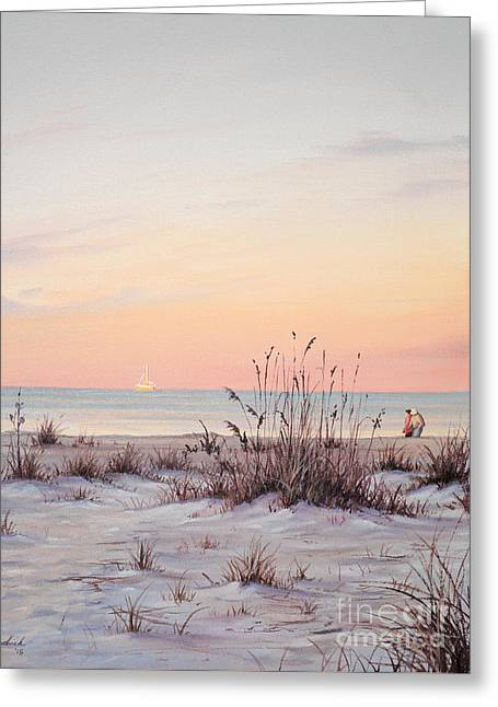 Florida Gulf Coast Greeting Cards - A Morning Stroll Greeting Card by Joe Mandrick