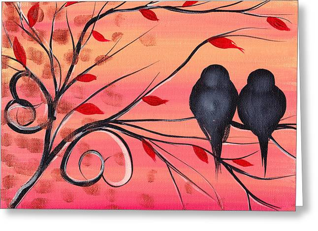 Fall Trees Greeting Cards - A morning with you Greeting Card by  Abril Andrade Griffith