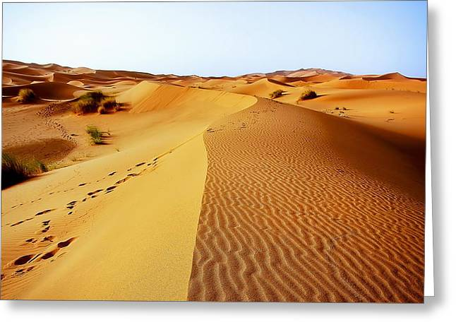 Sand Patterns Greeting Cards - A moroccan desert scenery composed of sand dunes spreading  Greeting Card by Jozef Klopacka