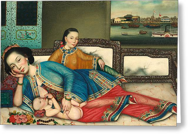 C.1870 Greeting Cards - A Mother and Child Greeting Card by Chinese Artist c 1870