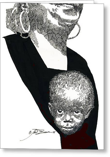 Editorial Greeting Cards - A Mothers Face Greeting Card by John D Benson