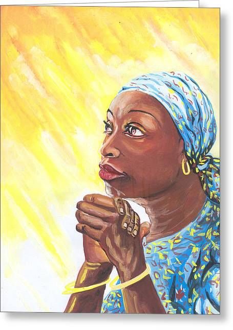 Emmanuel Baliyanga Greeting Cards - A Mothers Prayer Greeting Card by Emmanuel Baliyanga