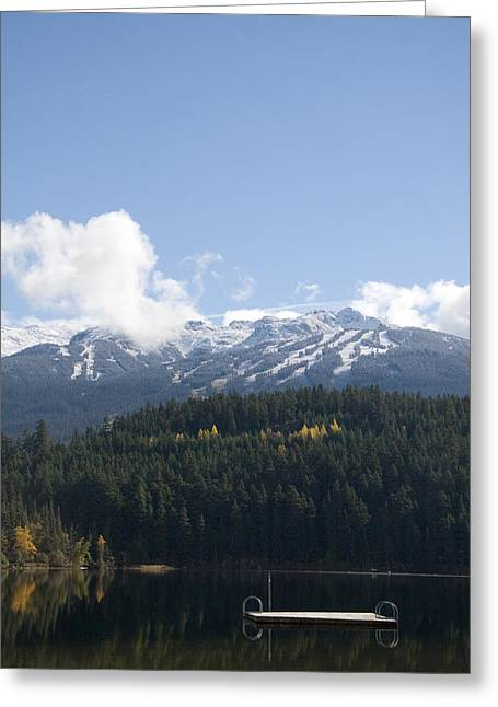 Winter Olympics Greeting Cards - A Mountain Reflects Onto A Calm Greeting Card by Taylor S. Kennedy