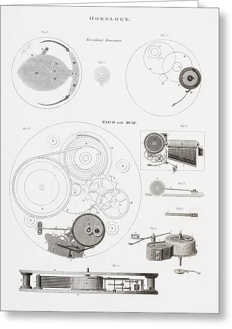 Mechanism Drawings Greeting Cards - A Musical Watch By The Clockmaker Greeting Card by Vintage Design Pics