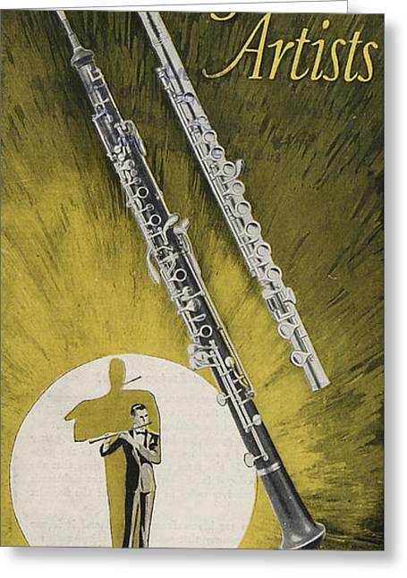Green Posters Greeting Cards - A Musician Playing a Charles Gerard Conn Flute Greeting Card by American School