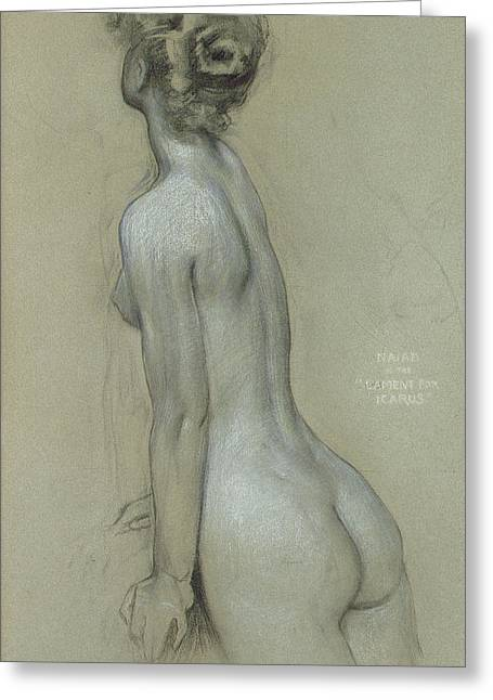 Nude Drawings Greeting Cards - A Naiad in The Lament for Icarus Greeting Card by Herbert James Draper