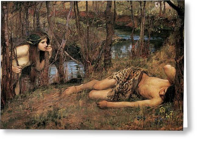 A Naiad Or Hylas With A Nymph Greeting Card by John William Waterhouse