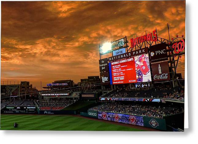 Washington Dc Baseball Greeting Cards - A National Sunset Greeting Card by Christopher Duncan