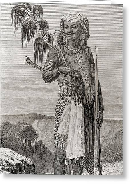 Ethnic Drawings Greeting Cards - A Native Of Timor, South East Asia In Greeting Card by Ken Welsh