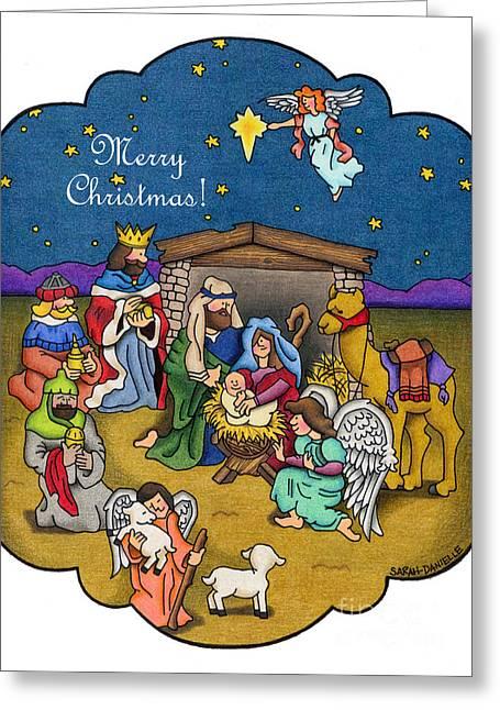 Star Of Bethlehem Drawings Greeting Cards - A Nativity Scene- Merry Christmas Card Greeting Card by Sarah Batalka