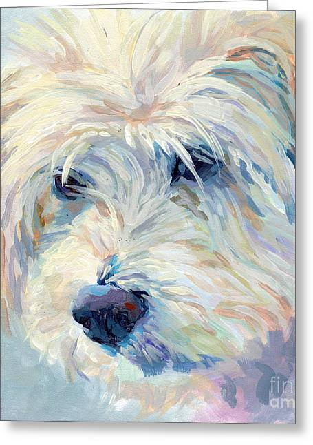 White Dogs Greeting Cards - A Natural Blonde Greeting Card by Kimberly Santini