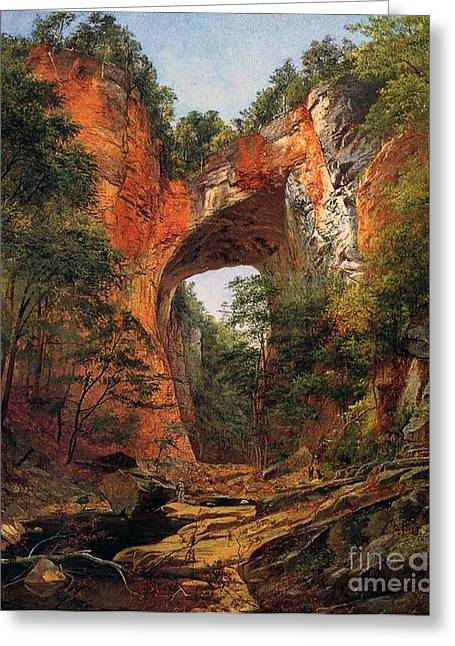 1860 Greeting Cards - A Natural Bridge in Virginia Greeting Card by David Johnson