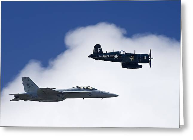 Number 18 Greeting Cards - A Navy F-18 And A Wwii Vintage F4u Greeting Card by Medford Taylor