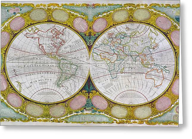 Celestial Paintings Greeting Cards - A New and Correct Map of the World Greeting Card by Robert Wilkinson