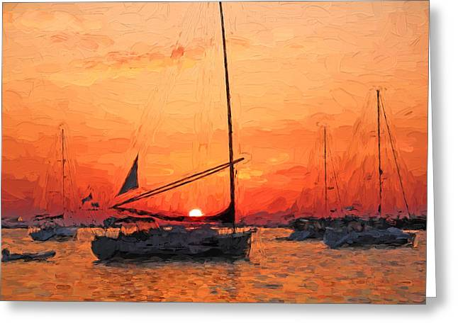 Sailboat Art Greeting Cards - A New Dawn - Florida Sunrise Greeting Card by HH Photography of Florida