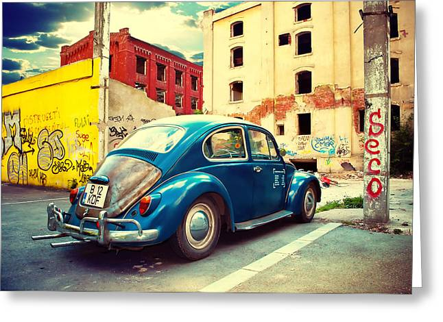 Original Vw Beetle Greeting Cards - A new day at work. Greeting Card by Horatiu Lazar