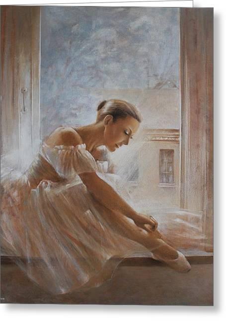 Ballet Dancers Drawings Greeting Cards - A new day Ballerina dance Greeting Card by Vali Irina Ciobanu