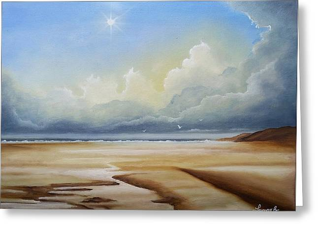 Sun Rays Paintings Greeting Cards - A New Day Greeting Card by James Brunt