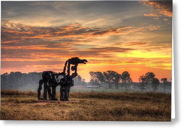 A New Day The Iron Horse Greeting Card by Reid Callaway