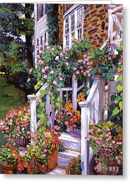 Front Porches Greeting Cards - A New England Visit Greeting Card by David Lloyd Glover