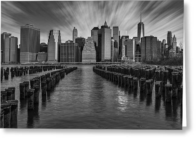 Brooklyn Bridge Park Greeting Cards - A New York City Day Begins BW Greeting Card by Susan Candelario