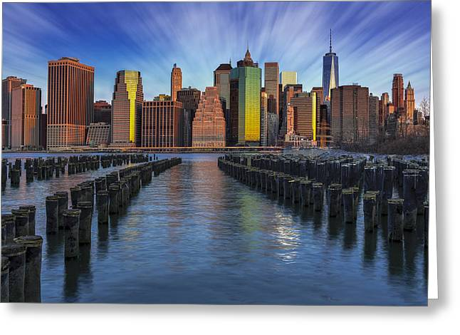 Brooklyn Bridge Park Greeting Cards - A New York City Day Begins Greeting Card by Susan Candelario
