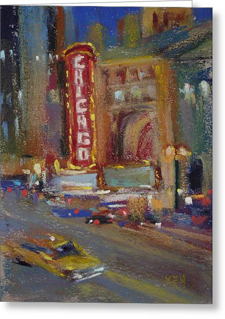 Night Scenes Pastels Greeting Cards - A Night at the Theater Greeting Card by Karen Margulis