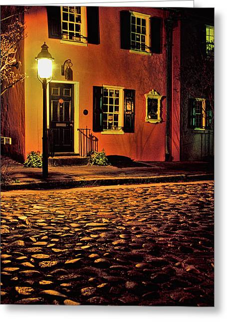 Night Lamp Greeting Cards - A Night in Charleston Greeting Card by Eggers   Photography