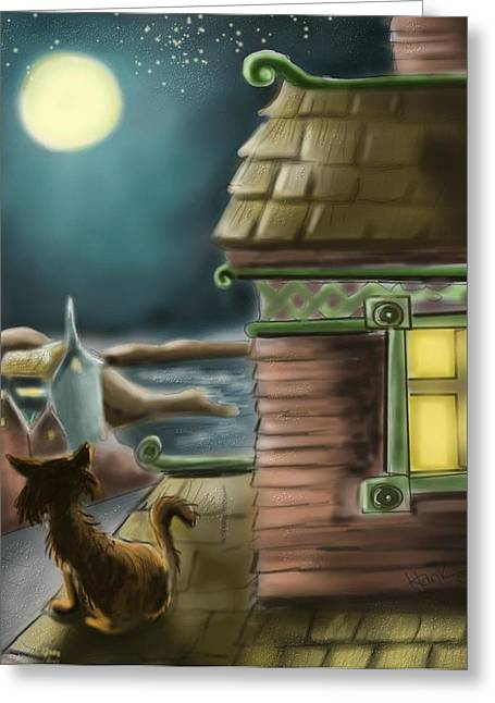 Cat Prints Digital Art Greeting Cards - A Night on the Roof Greeting Card by Hank Nunes