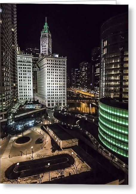 A Nighttime Look At Chicago's Wrigley Building Greeting Card by Sven Brogren