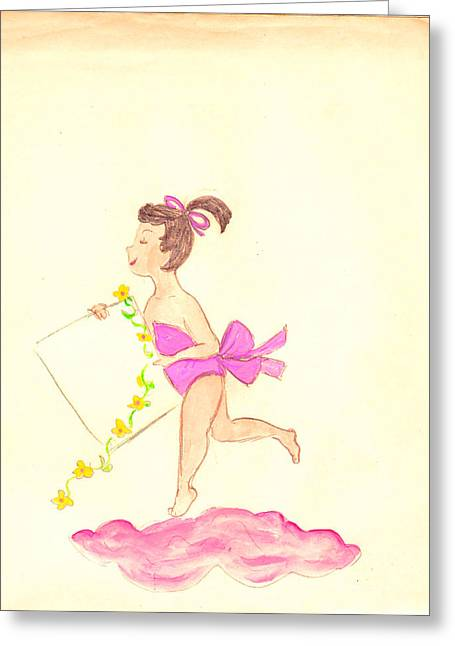 A Note From Heaven  Retro Greeting Card by Rosalie Scanlon