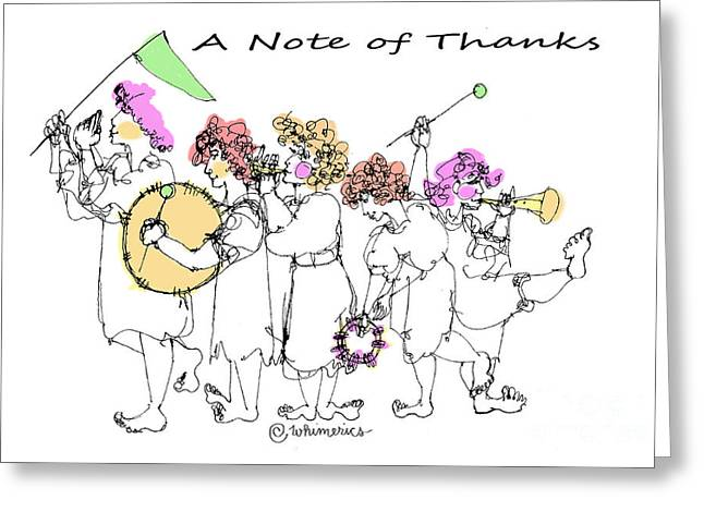 Marching Band Drawings Greeting Cards - A Note of Thanks Greeting Card by Marilyn Weisberg
