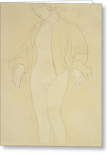 A Nude Female Dancer Greeting Card by Auguste Rodin