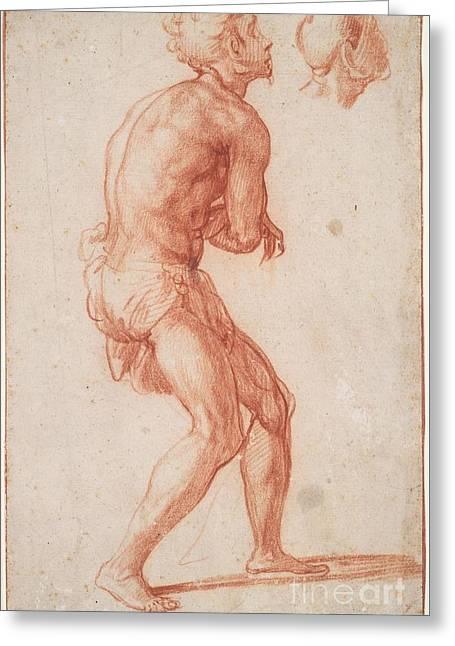A Nude Man Greeting Card by Francesco Salviati