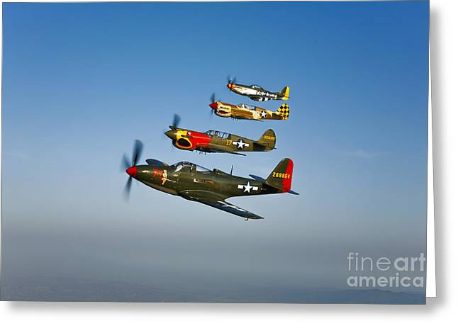 Model Aircraft Greeting Cards - A P-36 Kingcobra, Two Curtiss P-40n Greeting Card by Scott Germain