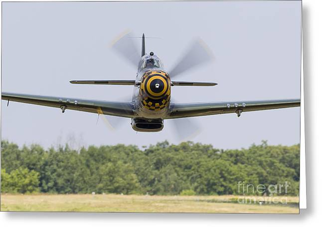 Heritage Foundation Greeting Cards - A P-51 Mustang Flies By At East Troy Greeting Card by Rob Edgcumbe