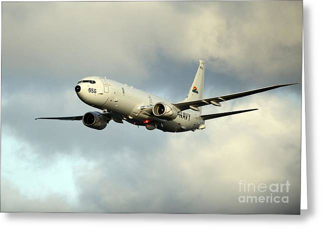 Enterprise Paintings Greeting Cards - A P-8A Poseidon conducts flyovers Greeting Card by Celestial Images