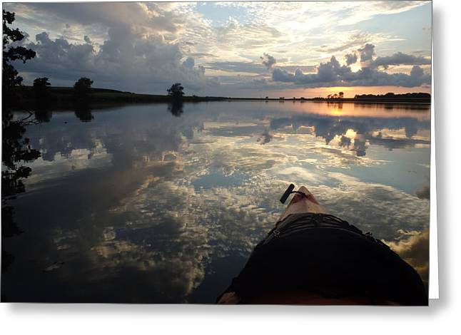 Reflecting Water Greeting Cards - A Paddle Among the Clouds Greeting Card by James Peterson
