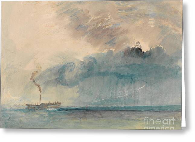 Boats In Water Drawings Greeting Cards - A Paddle-steamer in a Storm Greeting Card by Celestial Images