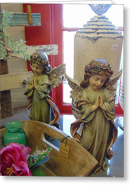Seraphim Angel Greeting Cards - A Pair of Angels Greeting Card by Charlotte Gray