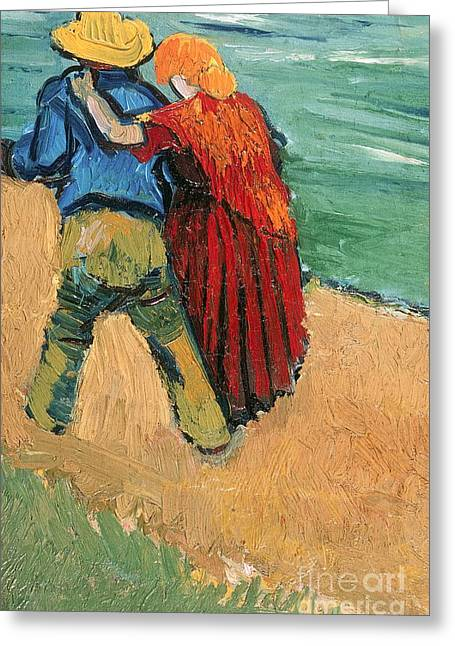 Vangogh Paintings Greeting Cards - A Pair of Lovers Greeting Card by Vincent Van Gogh