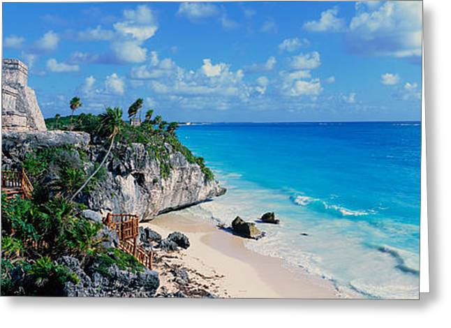 Period Greeting Cards - A Panoramic Of Mayan Ruins Of Ruinas De Greeting Card by Panoramic Images
