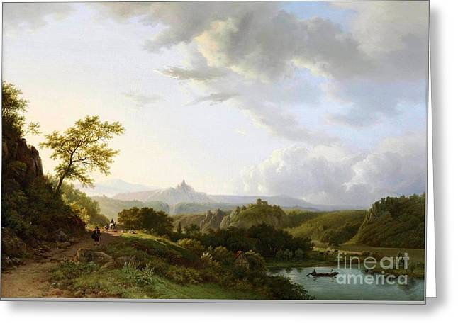 People Paintings Greeting Cards - A panoramic summer landscape with travellers and a castle ruin in the distance Greeting Card by Barend Cornelis Koekkoek