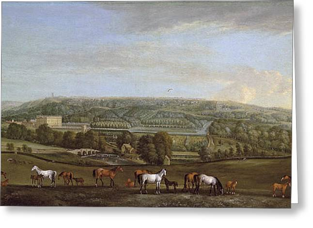 18th Century Greeting Cards - A panoramic view of Chatsworth House and Park Greeting Card by Pieter Tillemans