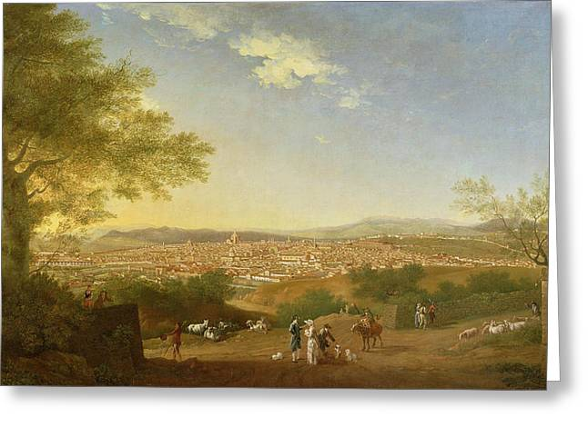 Tuscan Hills Paintings Greeting Cards - A Panoramic View of Florence from Bellosguardo Greeting Card by Thomas Patch