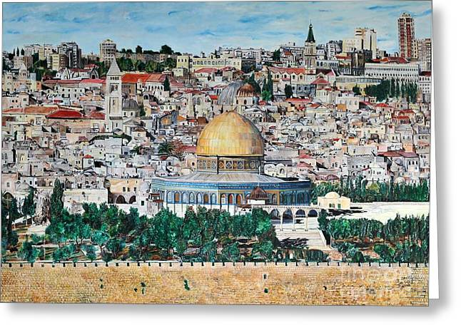 Mount Olives Greeting Cards - A panoramic view of Jerusalem Greeting Card by Abraham Zimmermann