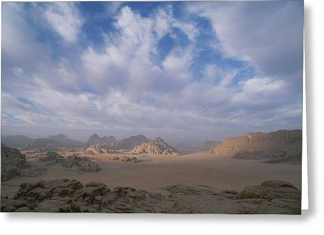 A Panoramic View Of The Wadi Rum Region Greeting Card by Gordon Wiltsie