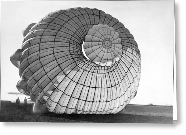 Diameter Greeting Cards - A Parachute For Airplanes Greeting Card by Underwood Archives