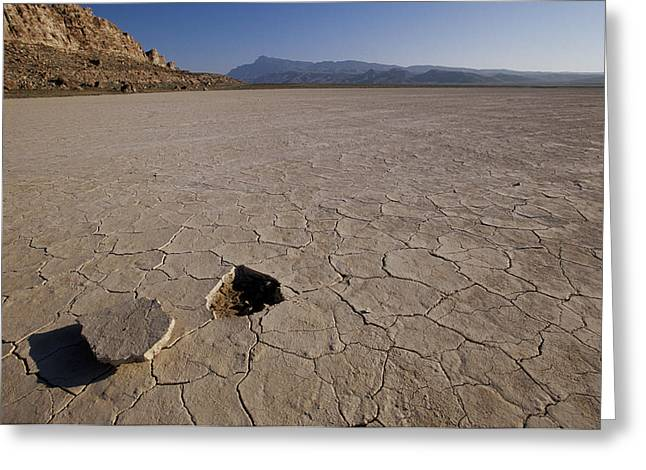 Mud Season Greeting Cards - A Parched Lake Bed Below Notch Peak Greeting Card by Bill Hatcher