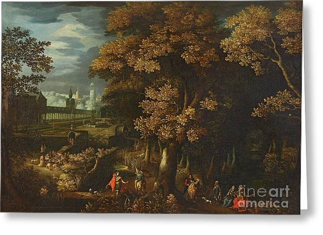 Flemish School; (17th Century) Greeting Cards - A Park Landscape with Courtly Figures Greeting Card by MotionAge Designs